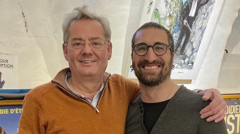 Olivier Duperrex (à gauche) mettra en scène le 22e spectacle de la compagnie, avec le comédien Fabrice Bruchez (à droite) dans le rôle principal.
