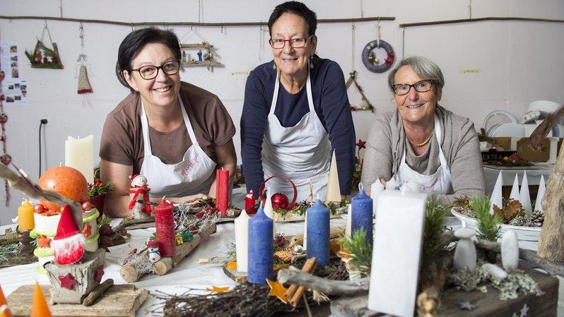 A l'Atelier de l'avent à Grône, Monique Gilloz, Nicole Bruttin-Ballestraz et Marie-Jeanne Florey    attendent les intéressés jusqu'au 30 novembre.
