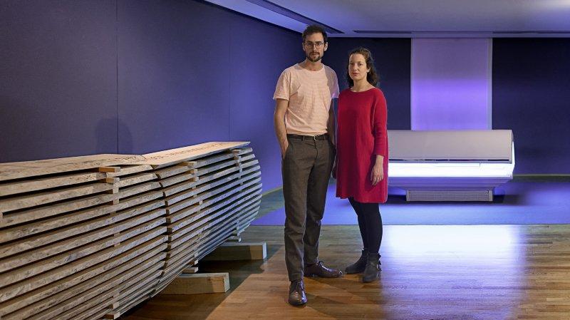 Flurina Badel et Jérémie Sarbach dans l'installation imaginée pour le Musée d'art du Valais et visible jusqu'au 8 novembre 2020.