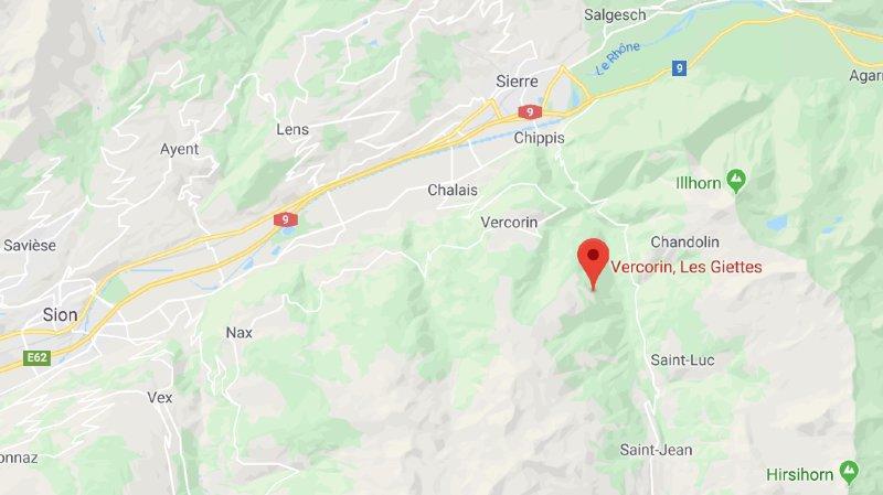 Eboulement sur la route Vercorin - Les Giettes: route fermée dans les deux sens