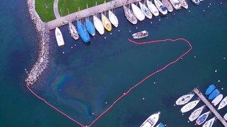Pollution aux hydrocarbures dans le port du Bouveret