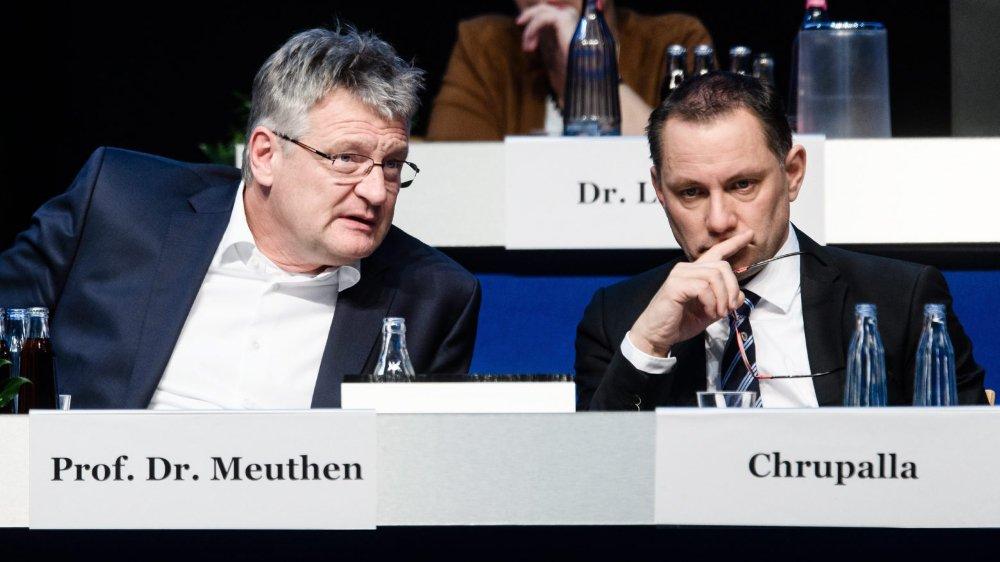 Les deux nouveaux coprésidents de l'AfD, Jörg Meuthen (à gauche) et Tino Chruppala, lors du congrès du parti, dimanche, à Brunswick.
