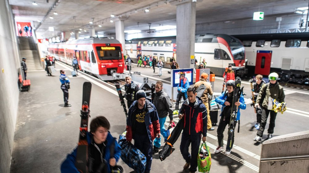 Inaugurée en janvier, la nouvelle gare du Châble a été conçue pour accueillir les trains à double étage.