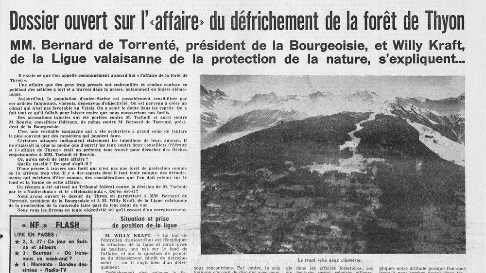 """""""L'affaire de la forêt de Thyon"""" fait la une du Nouvelliste du 6 février 1970."""