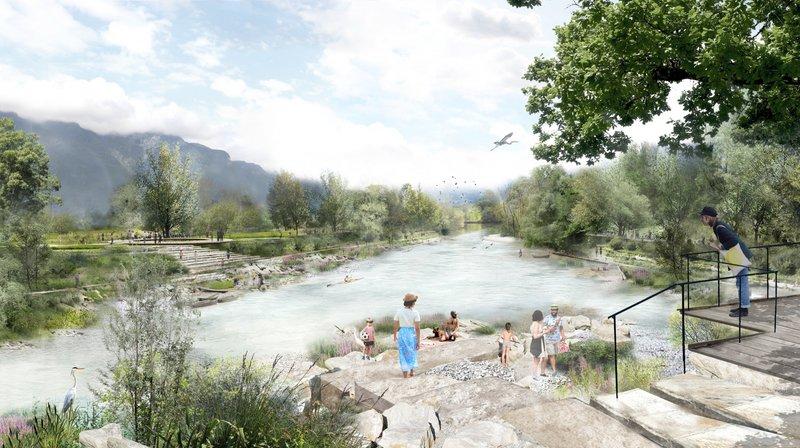 Les abords du Rhône tels qu'imaginés dans le Chablais.