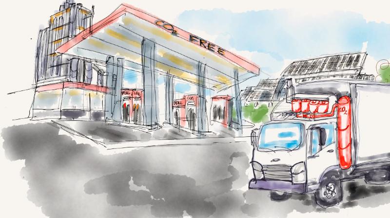 Le concept breveté par l'EPFL permettrait de capturer le CO2 des poids lourds.