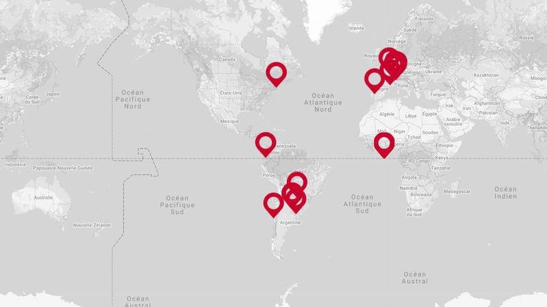 La carte interactive des descendants d'émigrés valaisans.