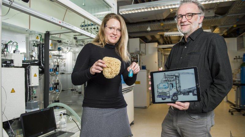 EPFL Valais: capter le CO2 des poids lourds et le transformer en carburant, c'est possible!