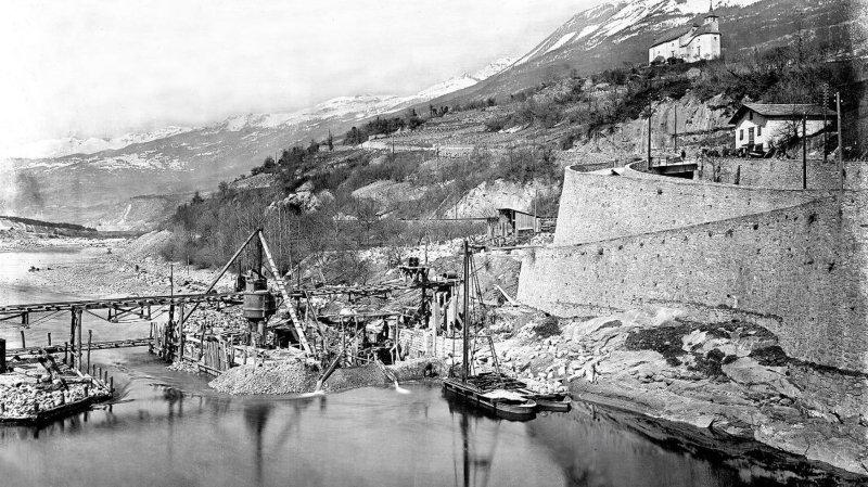 La construction du barrage à La Souste vers 1915. Une des nombreuses photos que le public peut découvrir sur la Plateforme Rhône.