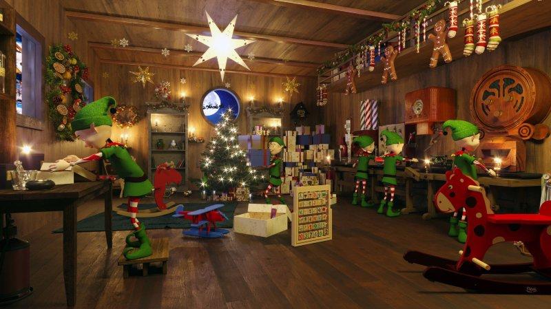 Les petits lutins sont affairés dans l'atelier du Père Noël.