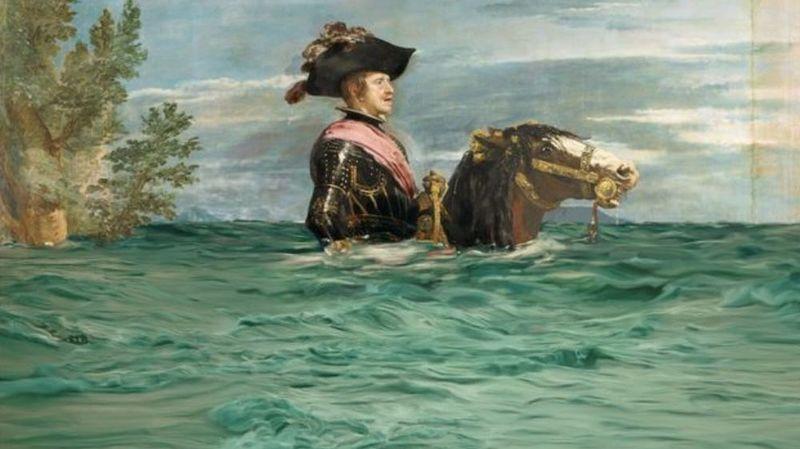 """""""Philippe IV à cheval"""", de Diego Velázquez, victime de la montée des eaux."""