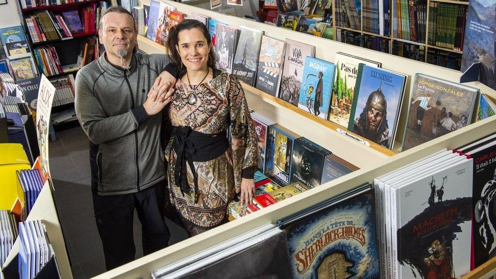 Annick Vermot et Olivier Vuagniaux ont repris Zalactorée, la dernière librairie spécialisée en bandes dessinées du canton, à Martigny.
