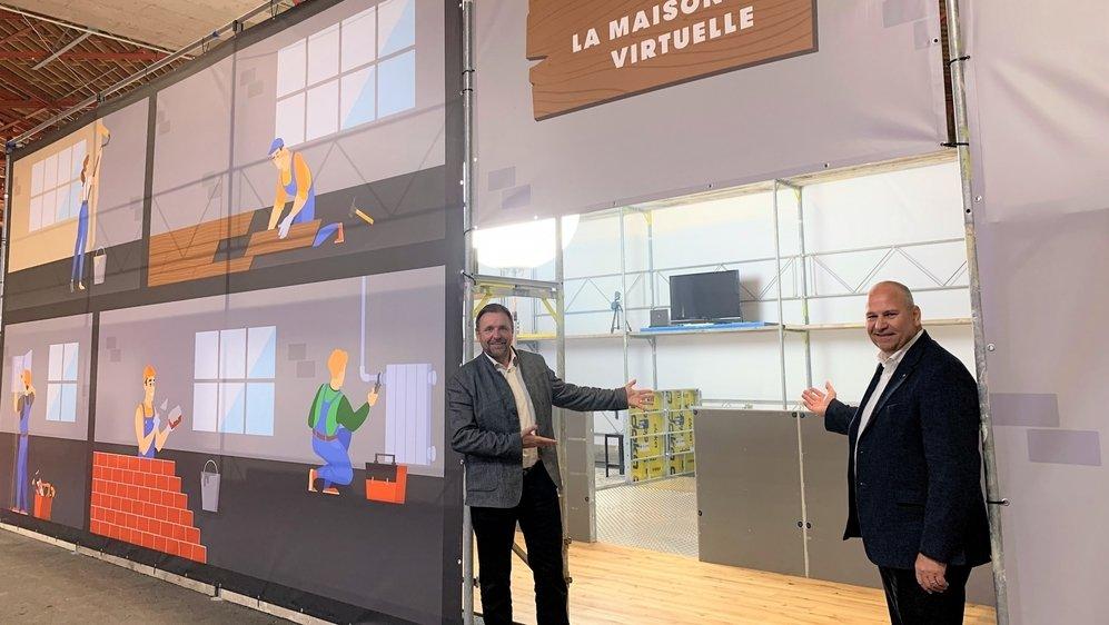 Vincent Bonvin, président du Bureau des métiers, et Claude Pottier, chef du Service de la formation professionnelle, misent sur la maison virtuelle pour attirer davantage de jeunes dans les métiers manuels.