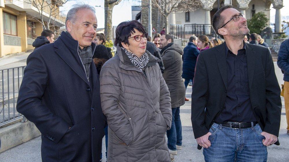 Raphaël Vuigner (à gauche) devrait se disputer la présidence avec la PDC Myriam Erné-Savioz. Le PLR Frédéric Vuignier ne pourra pas combler son retard.