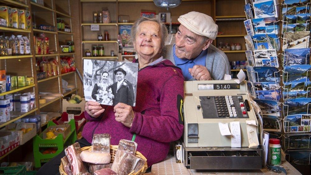 Yvonne et Maurice Pannatier, les épiciers d'Evolène.