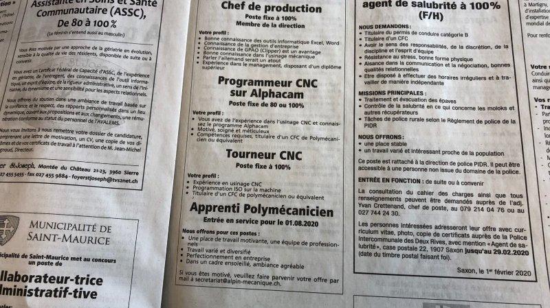 Le chômage recule en Valais