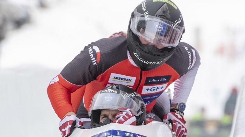 Michael Kuonen et ses coéquipiers connaissent un départ chahuté lors de la première manche de l'épreuve de bob à quatre dimanche à Saint-Moritz.