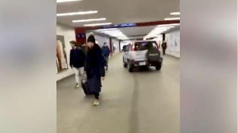 Il zigzaguait tranquillement dans le passage sous-voie de la gare de Viège.