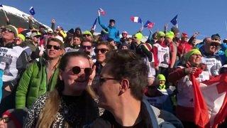 Ambiance au milieu des supporters de Daniel Yule à Chamonix