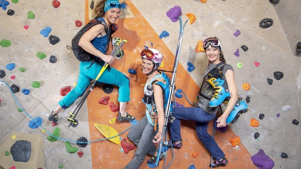 Hélène Bétrisey (au centre) et ses copines d'escalade, Pascale Theytaz et Sylvie Lorenz, continueront à s'entraîner malgré l'annulation de la PdG.