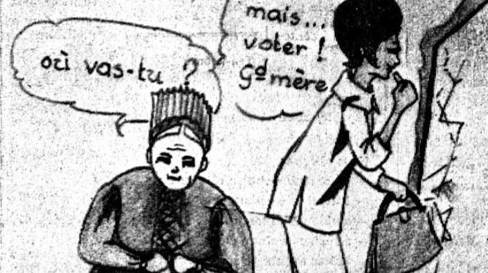 """En 1964, alors que le suffrage féminin est en discussion, """"Le Nouvelliste"""" s'amuse du choc entre le passé et le futur."""