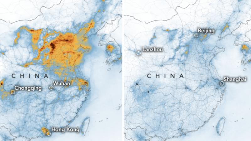 Coronavirus: des images de la Nasa montrent la chute spectaculaire de la pollution en Chine