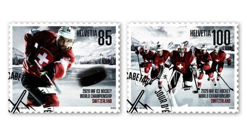 Deux timbres-poste pour les championnats du monde de hockey en Suisse