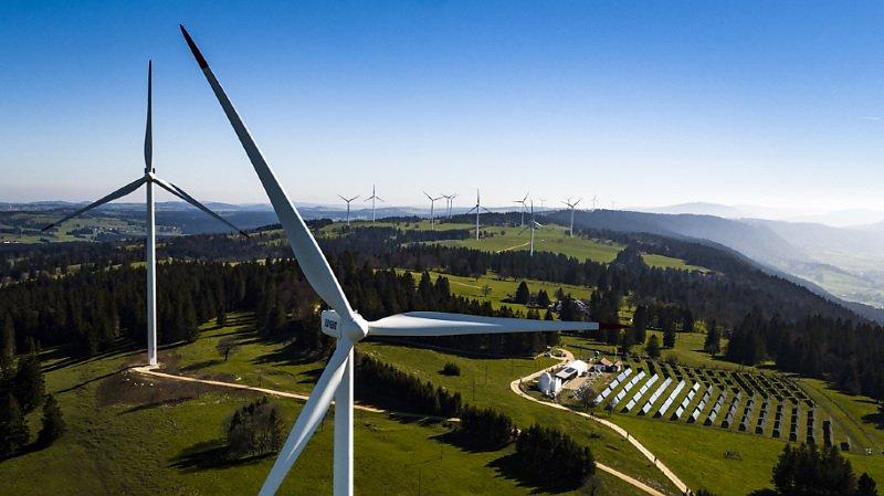 Les éoliennes au Mont-Crosin (BE) ont produit l'an dernier 23% de plus d'électricité qu'en 2018 (archives).