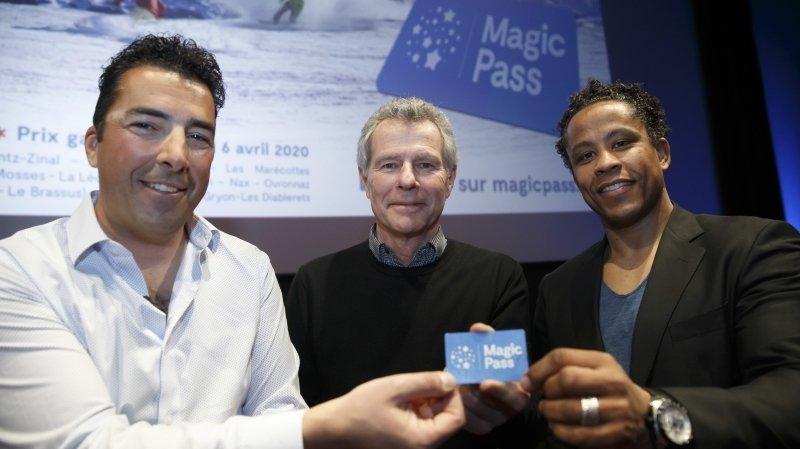 Administrateurs du Magic Pass, Sébastien Travelletti, Pierre Besson et Sergei Aschwanden visent 120 000 forfaits pour la saison à venir, une baisse de 15 000 due au départ de Crans-Montana.