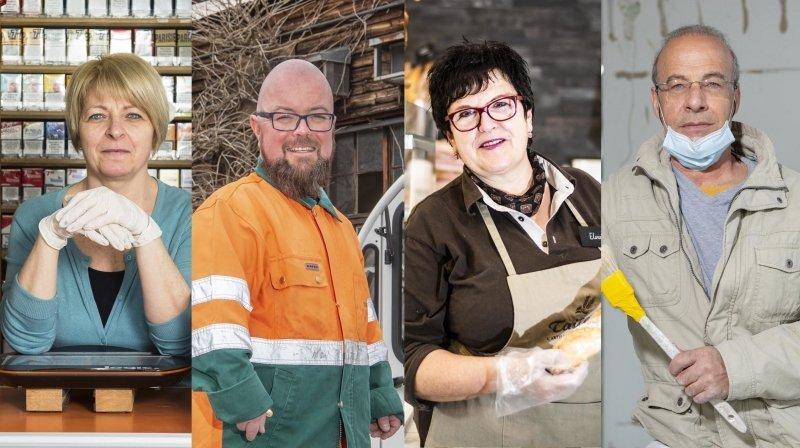 Malgré l'épidémie, Françoise, Eric, Elvine et Maurizio se rendent quotidiennement sur leur lieu de travail afin d'honorer la vocation qui les habite.