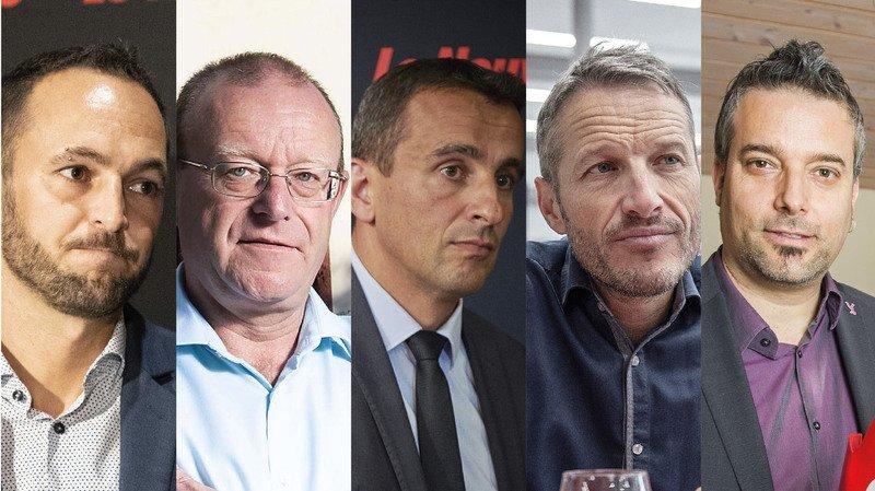 Mathias Reynard (PS), Jean-Luc Addor (UDC), Sidney Kamerzin (PDC), Christophe Clivaz (les Verts) et Stéphane Ganzer (PLR) ont fait front commun pour demander la fermeture provisoire des chantiers.