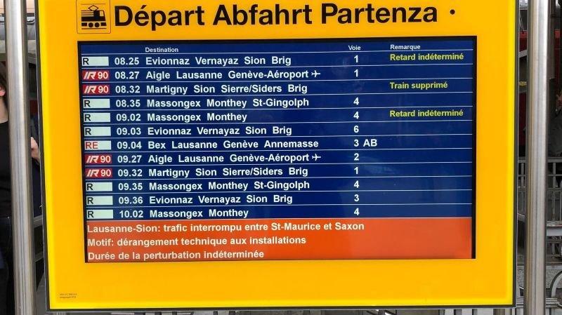 Le message affiché en gare de Saint-Maurice ce mardi matin.