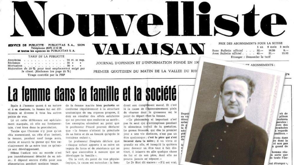 Le 12 décembre 1958, «Le Nouvelliste» publie l'une des 9 chroniques de l'abbé Crettol.