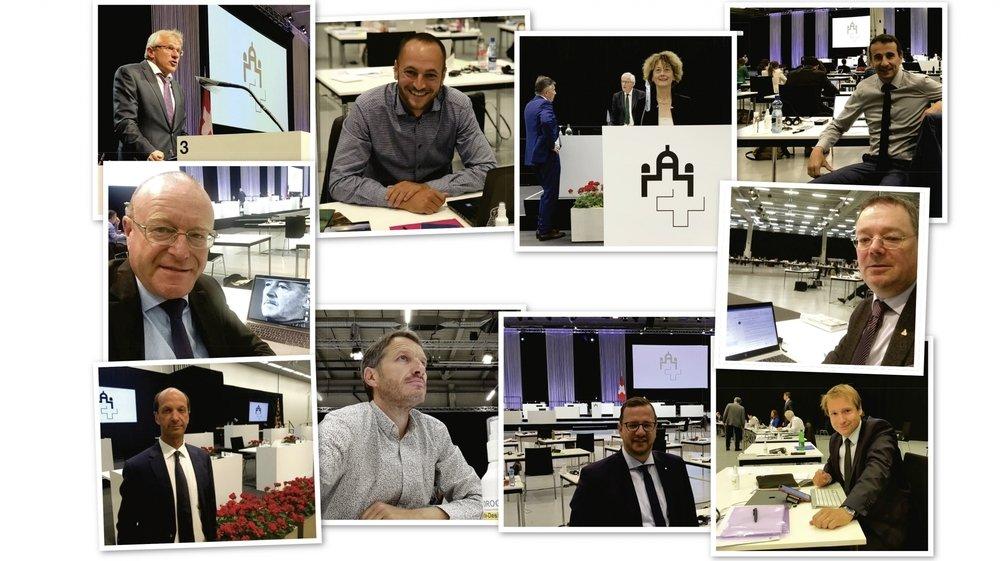 De gauche à droite, Benjamin Roduit, Mathias Reynard, Marianne Maret, Sidney Kamerzin, Jean Luc-Addor, Franz Ruppen, Beat Rieder, Christophe Clivaz, Philipp Matthias Bregy, Philippe Nantermod.