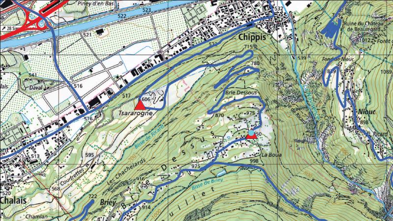 Le village de Briey sera coupé en deux par les travaux (point turquoise).