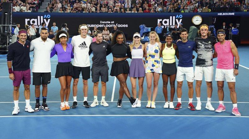 Roger Federer (premier depuis la gauche) suggère de fusionner les circuits masculin et féminin.
