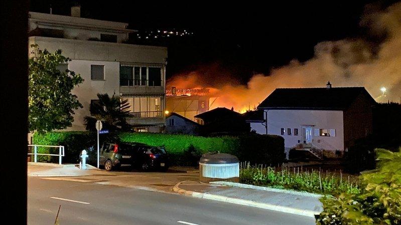 L'incendie sur le centre Manor de Sierre.