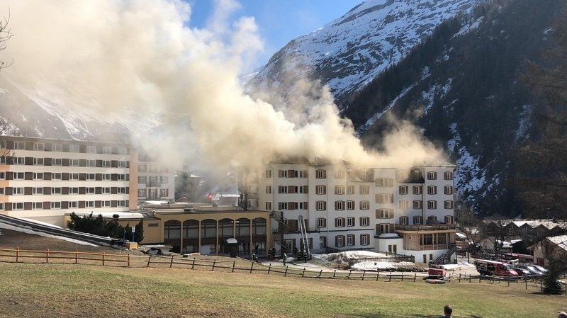 Zinal: un blessé lors de l'incendie de l'hôtel d'Intersoc