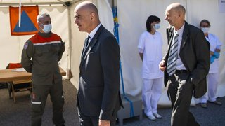 Coronavirus: Alain Berset visite le dispositif sanitaire valaisan