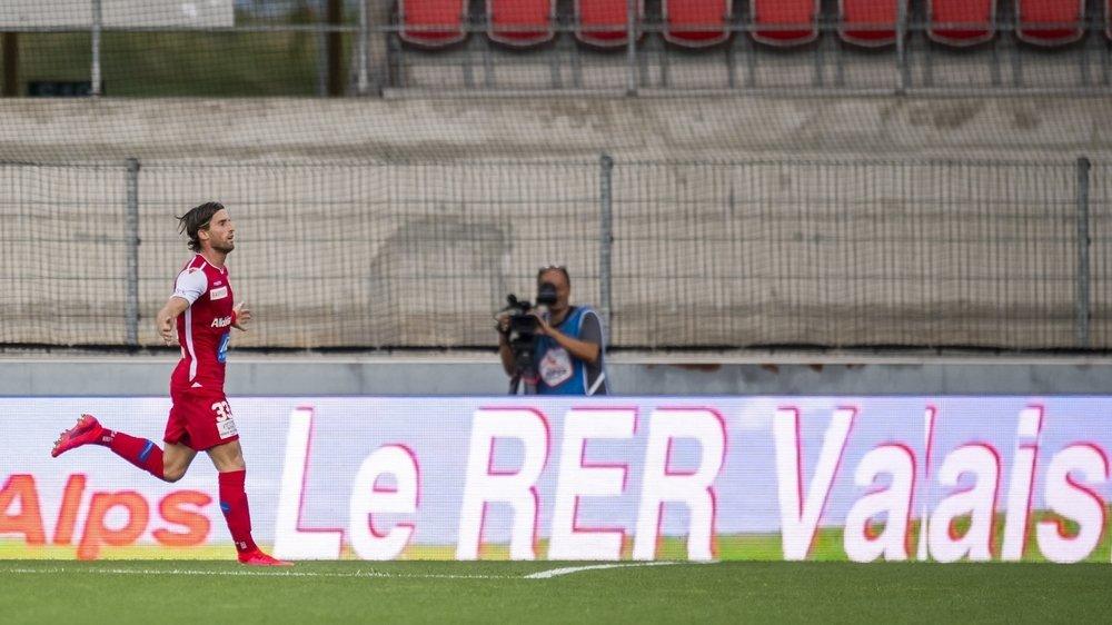 Ermir Lenjani éclate de joie après avoir égalisé contre Servette le 24 juin au stade de Tourbillon.