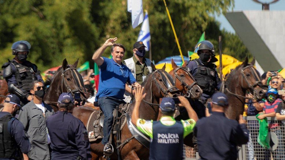 Jair Bolsonaro lors d'une manifestation à Brasilia.