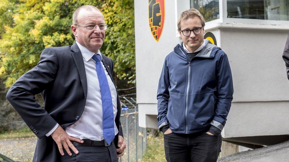 Si Philippe Nantermod (à droite) a d'ores et déjà téléchargé l'application, Jean-Luc Addor refuse de le faire.