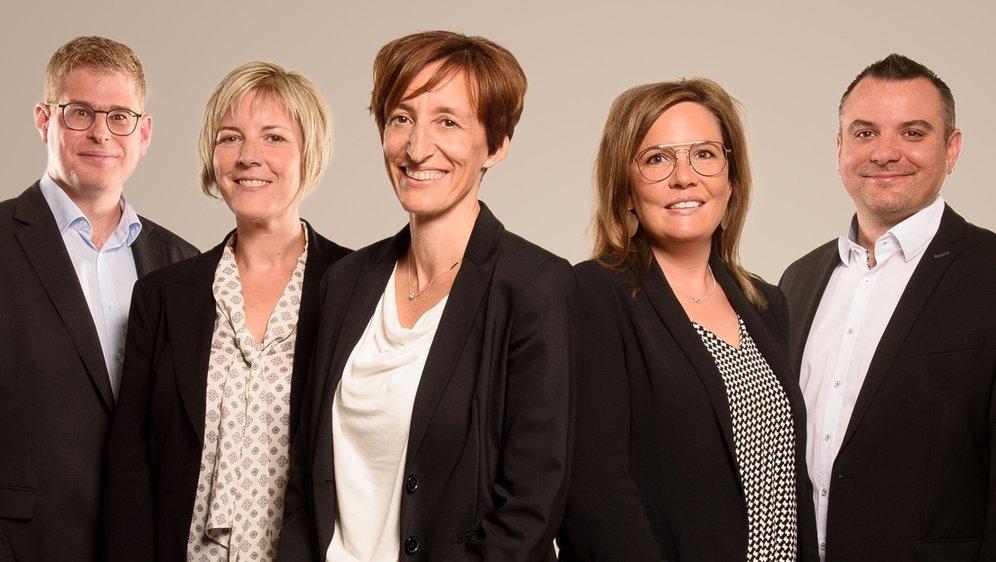 De gauche à droite: Lucien Pignat, Aline Héritier, Véronique Rieder (candidate pour le poste de juge de commune) Nathalie Lamon-Courtine et Sylvain Dumoulin.