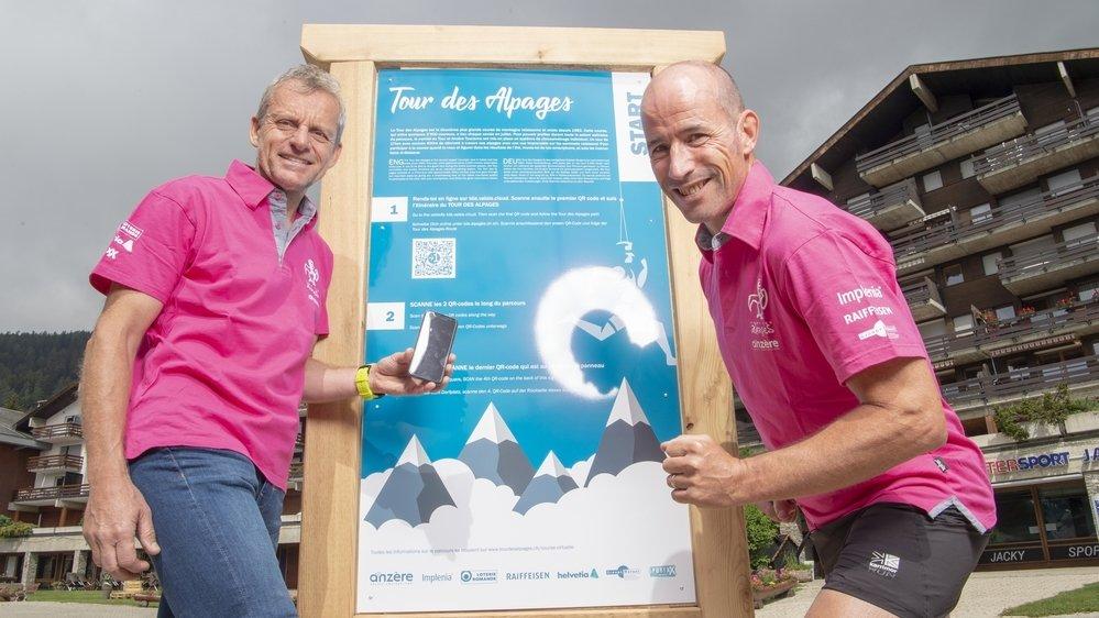 Henry Hess, président du Tour des Alpages et Billy Burns parrain et ancien vainqueur de la course ont inauguré ce week-end ce parcours 2.0.