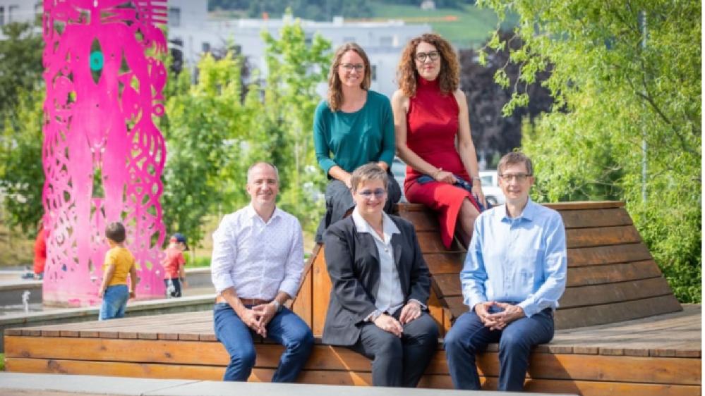 Les candidats verts aux élections communales de Sion. De gauche à droite: Christian Miraillès, Brigitte Pfister, Marylène Volpi Fournier, Mireille Hofmann Jacquod et Alexandre Dubuis.
