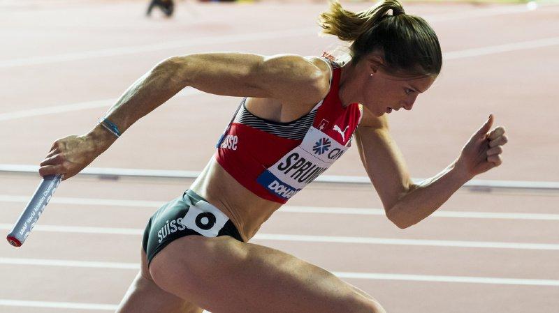 Lea Sprunger, ici lors du relais 4x400m des qualifications à la Coupe du Monde à Doha, a renoué avec la compétition avec une très belle 3e place aux Impossible Games d'Oslo.