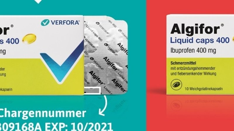 Les consommateurs qui ont acheté de l'Algifor Liquid Caps 400mg depuis le 3 mars 2020 sont priés de vérifier le contenu de la boîte.