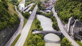 Ouvrages d'art et cols alpins valaisans: les trois ponts de Saint-Maurice