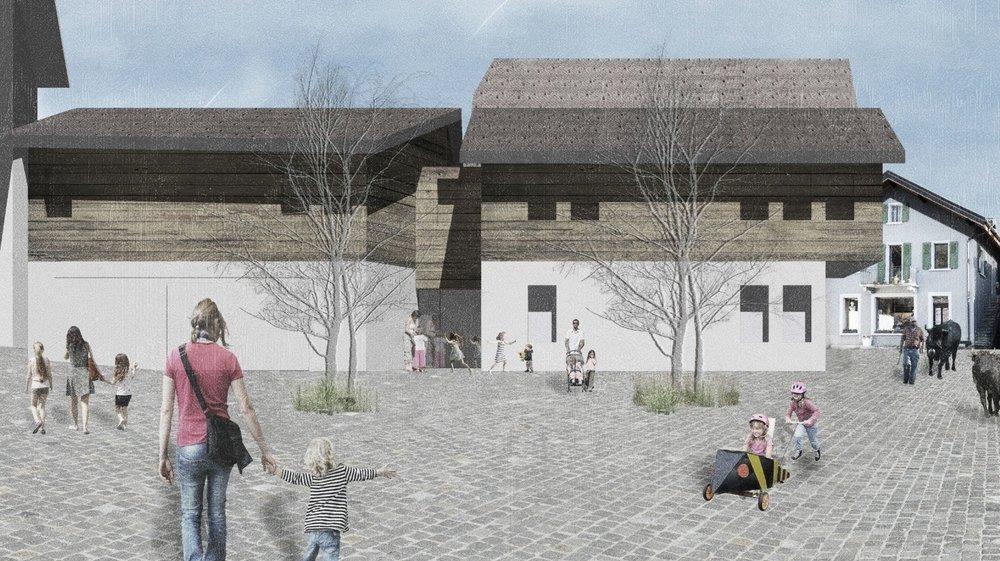La nurserie de Noble-Contrée sera construite dans le vieux village de Venthône, en lieu et place du bâtiment de l'ancien magasin.
