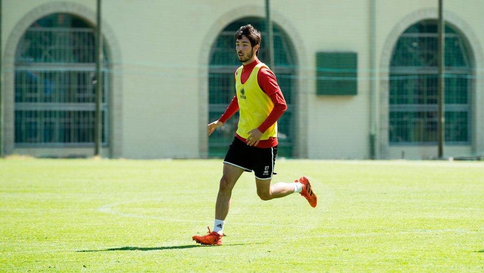 Bruno Morgado, ici à l'entraînement sur le terrain du FC Sion de Martigny-Bourg, jouera son premier match officiel avec Rapperswil jeudi soir.